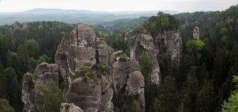Rock formation in Cesky raj near castle Hruba Skala in Czech republic Royalty Free Stock Photos
