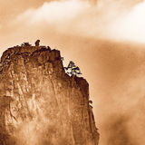Rock formation on the cliff. Rock formation on the cliff in Huangshan National park. China Stock Images