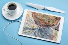 Rock formation and creek - aerial view Royalty Free Stock Photography