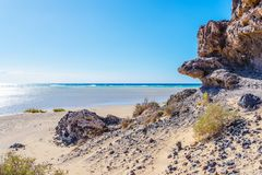 Rock formation on empty sand beach against blue ocean and sky on Fuerteventura. Island on sunny day Royalty Free Stock Images