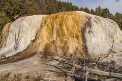 Rock formation encrusted in mineral deposits at Yellowstone. Water filled with mineral deposits flow down this rock formation in Yellowstone National Park royalty free stock photos