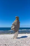 Rock formation on Fårö island in Sweden. Rock formation (rauk) on Fårö island in Gotland, Sweden. Baltic Sea coastline Royalty Free Stock Image