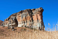 Rock formation at Golden Gate. South Africa  against a bright blue sky Stock Photography