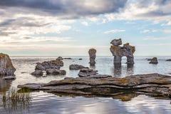 Rock formation on Gotland. Raukar on Gotland, Sweden Stock Images