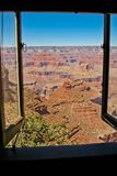 Rock formation at the Grand Canyon viewed from window stock photo