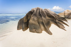 Rock formation. Granite rock formation on a white sandy beach on the island of La Digue, Seychelles, Indian Ocean stock photo