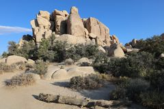 Rock Formation at Hidden Valley Trail in Joshua Tree National Park. California Stock Photography