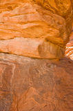 Rock formation with hieroglyph. A rock formation in the Valley of Fire in Nevada with hieroglyphs Royalty Free Stock Photos