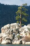 Rock Formation on lake. Rock formation in the middle of Big Bear Lake California Royalty Free Stock Photography