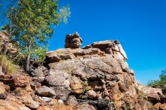 Rock formation looking like a monster at Edith Falls, Australia. Unusual rock formations on Leilyn Trail along Edith River at Edith Falls in the Nitmiluk stock photo