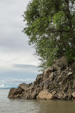 Rock formation at the mouth of Sanyati Gorge, Lake Kariba Stock Photography