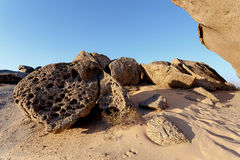 Rock formation in Namib desert in sunset, landscape. Vogelfederberg, Namibia, Africa Stock Photos