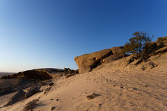Rock formation in Namib desert in sunset, landscape Royalty Free Stock Photography