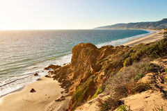 Rock formation by ocean on Point Dume Beach Malibu Stock Image