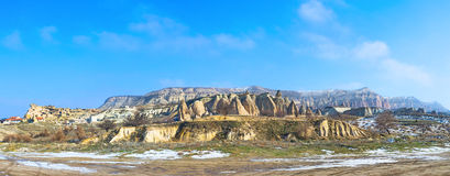 The rock formation. Panorama of the large volcanic rock formation, named the Rose Valley, Cappadocia, Turkey Stock Images