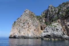 Rock formation at paradise beach of Liapades at Corfu Island Gr. Eece. Sedimentary rock cliff of chalk rocks royalty free stock photography
