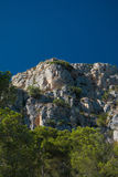 Rock formation and pine trees on the Costa Brava Royalty Free Stock Image