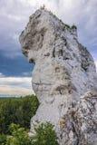 Polish Jura region. Rock formation of Polish Jurassic Highland, Silesia region in Poland next to Ogrodzieniec Castle stock photo