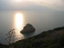 Rock formation in Sardinia. Rock islet formation in sea of Nebida, Sardinia, Italy stock images