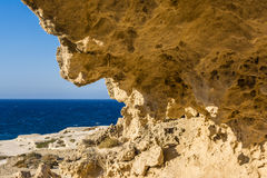 Rock formation at the sea of Sarakiniko area, Milos island, Greece stock image