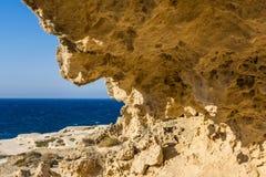 Rock formation at the sea of Sarakiniko area, Milos island, Greece Stock Image