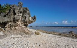 Rock formation on the seashore French Polynesia Stock Photo