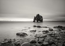 Rock formation in shallow water in black and white royalty free stock image
