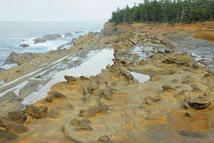 Rock formation in shore acres royalty free stock images