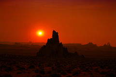 Rock formation silhouettes during sunset. In Monument Valley AZ USA Royalty Free Stock Image