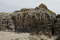Rock formation with stone steps royalty free stock photo