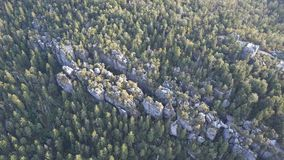 Amazing rock formation on Szczeliniec Wielki in Table Mountains National Park. Tourist attraction of Polish Sudetes. Rock formation on Szczeliniec Wielki in stock footage