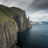 Rock formation Trøllkonufingur on Vagar Island, Faroe Islands