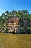 Rock formation on the Wisconsin Dells. Sandstone rock formations at the Wisconsin Dells by the river stock photos