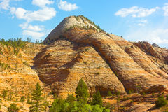 Rock formation of Zion National Park before sunset. Stock Photos