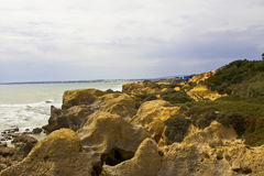 Rock formations on the Algarve coast Stock Image