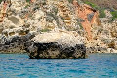 Beautiful Rock formations on the Algarve Coast, Portugal Stock Photo