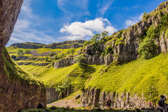 Rock formations. Amazing rock formations at Goredale Scar, Mallham, Yorkshire, UK stock photos