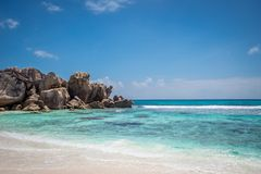 Rocks at Anse Coco. Rock formations at Anse Coco in La Digue, Seychelles Royalty Free Stock Photography