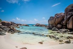 Rocks at Anse Coco. Rock formations at Anse Coco in La Digue, Seychelles Stock Photography