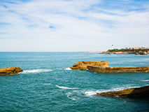 Rock formations around the seaside of Biarritz, Basque Country Royalty Free Stock Photo