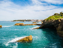 Rock formations around the seaside of Biarritz, Basque Country Stock Image