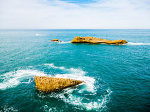 Rock formations around the seaside of Biarritz, Basque Country Stock Photography