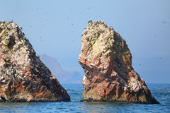 Rock formations in Ballestas Islands Reserve in Peru Royalty Free Stock Image