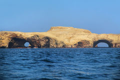 Rock formations in Ballestas Islands Reserve in Peru. Ballestas islands are an important sanctuary for marine fauna Stock Photo