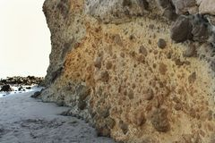 Rock formations on the beach in Almeria, Spain Stock Photo