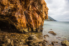 Rock formations on the beach  in Loutra Edipsou, Evia, Greece Stock Image