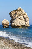 Rock formations on the beach, Petra Tou Romiou, Aphrodites Birt Royalty Free Stock Photo