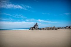 Rock formations Bedruthan Steps Cornwall United Kingdom royalty free stock photography