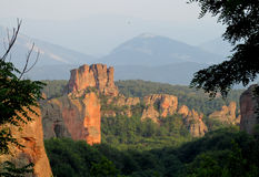 Rock formations in Belogradchik, Bulgaria on sunset Royalty Free Stock Photography