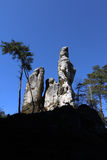 Rock formations in the Bohemian Paradise Geopark stock photography